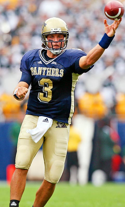 The undersized (6-1) but heavily recruited slinger has been at the helm for three years at Pitt.  In this, his second year in coach Dave Wannstedt's pro-style system, the gritty lefty has really flourished and adeptly leads the nation in passing efficiency (187.3), throwing 17 touchdowns to just three interceptions.