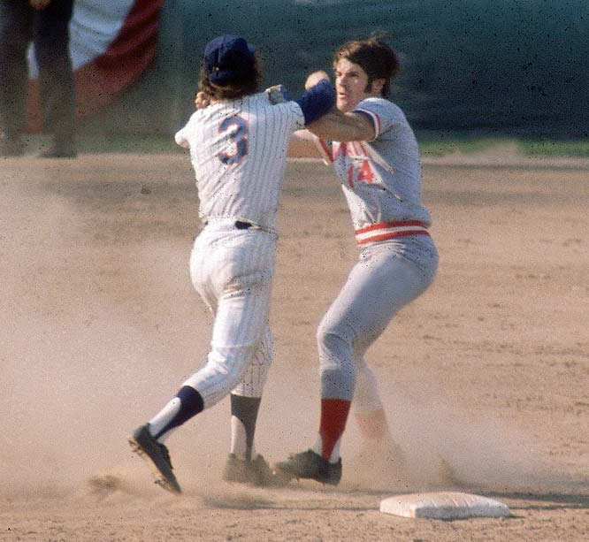 The Mets were routing the Reds 9-2 in Game 3 of the NLCS when Rose slid hard into Mets shortstop Harrelson at second to break up a double play. Rose was upset about comments Harrelson had made in the press and shoved Harrelson, who swung his elbow. Fists started flying as both benches emptied. Pedro Borbon of the Reds and Buzz Capra of the Mets also went mano a mano, with Borbon ending up with the wrong cap -- a Mets cap -- on his head. When he realized what he had done, he bit a chunk out of it.