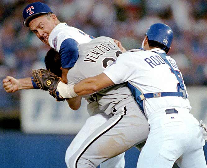 Ventura had a decent career, but most people will remember him for getting a bunch of noogies from Ryan, who, at 46, was 20 years his elder. Ventura was ejected from the game and Ryan stayed in. The Rangers won 5-2.