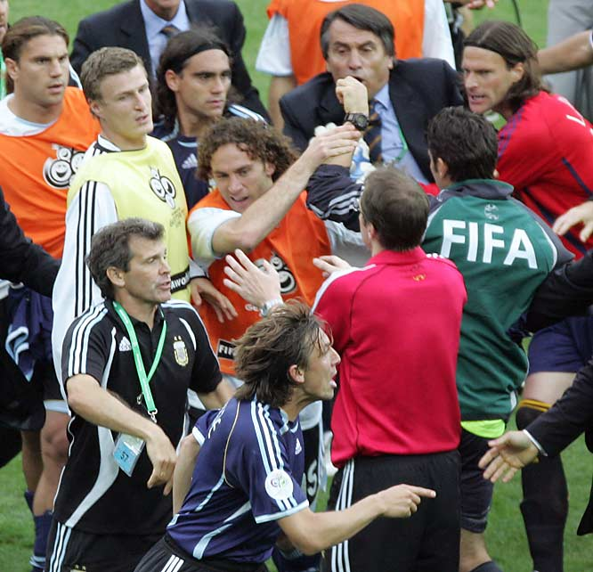 On the heels of Germany's 4-2 shootout victory over Argentina in the 2006 World Cup, a brief skirmish between both teams took place near midfield. Punches were thrown and at least one player was knocked down by a kick. FIFA suspended two players from Argentina and one from Germany.