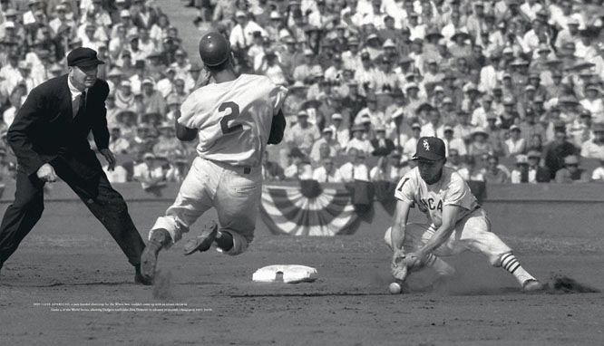 Luis Aparicio, a sure-handed shortstop for the White Sox, couldn't come up with an errant throw in Game 4 of the 1959 World Series, allowing Dodgers outfielder Don Demeter to advance to second.