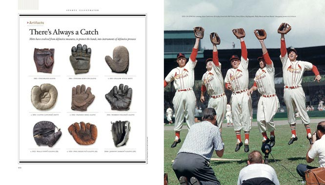 (Left) Mitts have evolved from defensive measures, to protect the hands, into instruments of defensive prowess. (Right) In spring training, the 1955 Cardinals were all in play: from left, Bill Virdon, Harry Elliott, Rip Repulski, Wally Moon and Stan Musial.