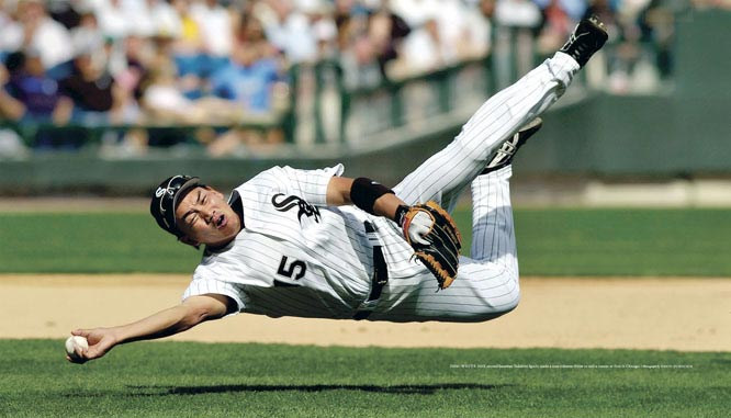 White Sox second baseman Tadahito Iguchi made a true sidearm throw to nail a runner at first in Chicago.