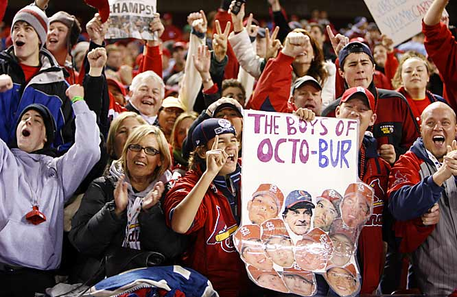 Fans cheer during Game 5 at Busch Stadium.