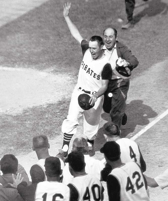 Bill Mazeroski opened the bottom of the ninth with a home run off Ralph Terry of the Yankees to give the Pirates a 10-9 victory and the World Series in seven games.