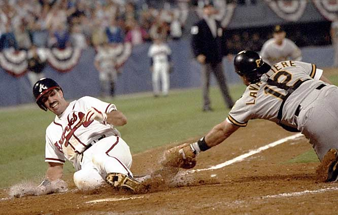 Shut out by Pirates ace Doug Drabek for eight innings, Atlanta rallied for three runs in the ninth for a dramatic 3-2 victory. A two-run pinch-hit single by little-known and not-long-remembered Francisco Cabrera drove home David Justice and Sid Bream.