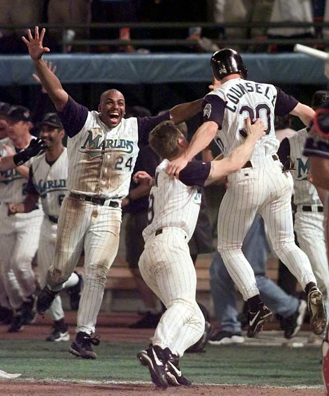 Craig Counsell came home with the winning run in the bottom of the 11th on Edgar Renteria's solid base hit to center, giving the Marlins a 3-2 win and a World Series title only five years into their existence.