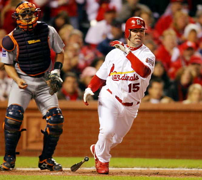 Jim Edmonds hits a two-run double to right off Detroit starter Nate Robertson in the fourth.