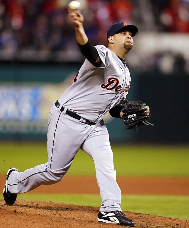 Reliever Joel Zumaya allowed two unearned runs in the seventh after he made a throwing error to third.