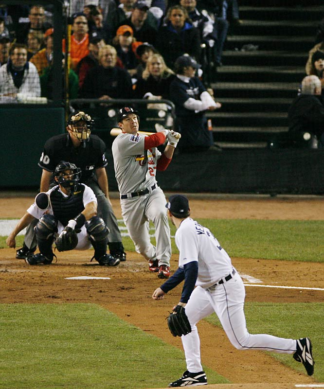 St. Louis' Scott Rolen homers off Detroit's Justin Verlander in the second inning.