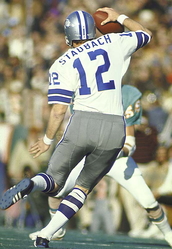 In his third season, Hall of Fame quarterback Roger Staubach earned the starting job and NFL MVP honors by leading Dallas (14-3) on a season-ending eight-game winning streak that put the Cowboys in the Super Bowl. A multidimensional threat, Staubach threw for 1,882 yards and 15 touchdowns, was picked off only four times and ran 41 times for 343 yards.