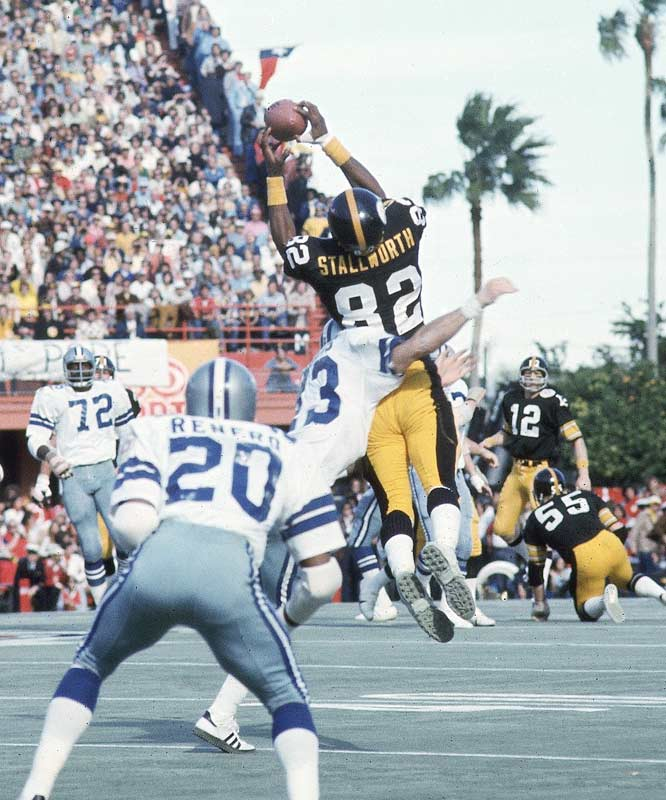 A three-time Pro Bowl player with an outstanding vertical leap, Stallworth teamed up with Lynn Swann to give the Steelers a potent passing attack.