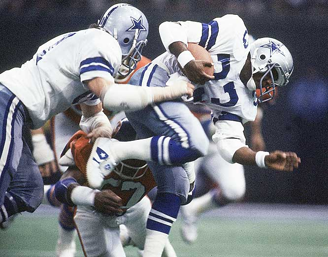 Tony Dorsett didn't become the fulltime starter at running back until the 10th game of the season, but led the team in rushing and was its third leading receiver. He ran for a game-high 66 yards in the Super Bowl and scored one touchdown.