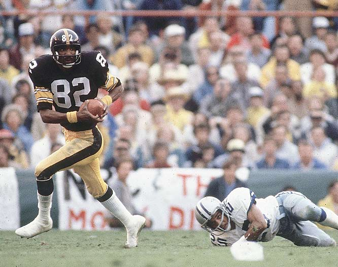 John Stallworth breaks through for a 75-yard touchdown reception, one of two TD catches on the day.