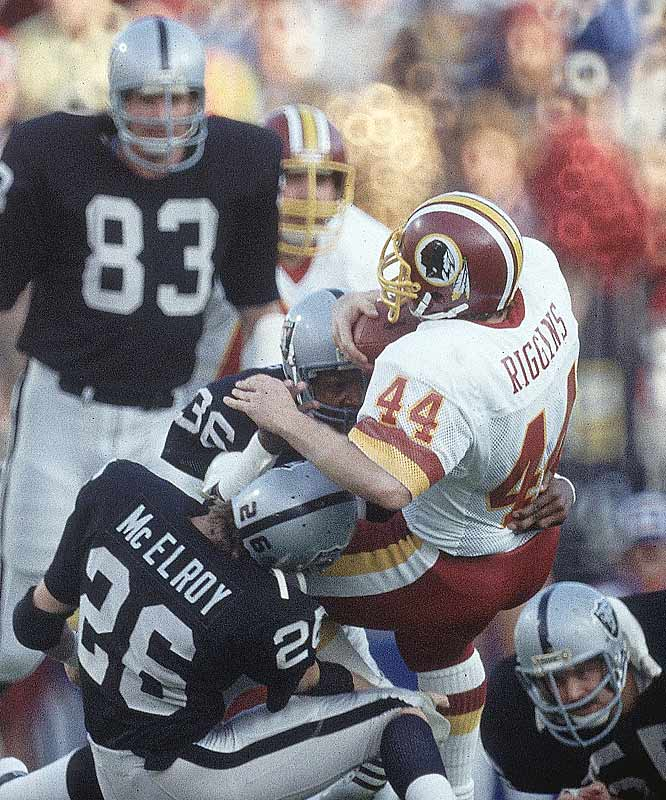 Though he led the league in rushing touchdowns with 24 in 1983, John Riggins scored only one against the Raiders in Super Bowl XVIII.