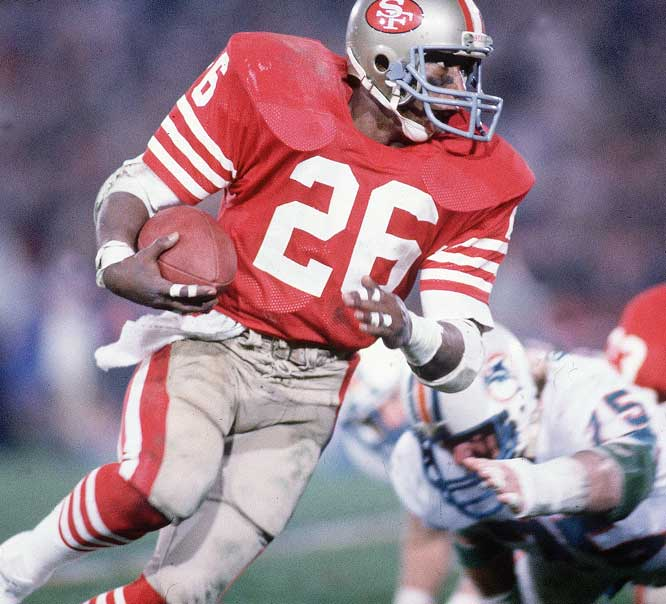 Running back Wendell Tyler didn't score in Super Bowl XIX, but he rushed 13 times for 65 yards and hauled in four passes for 70 yards.