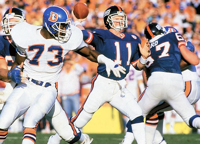 Phil Simms' performance in Super Bowl XXI could be considered the best ever by a quarterback, with 22 of 25 passes completed for 268 yards and three touchdowns. Simms set a Super Bowl record for accuracy and passer rating (158.3).