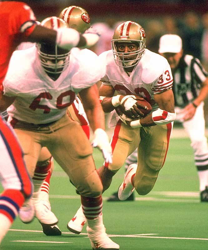With 1,527 total offensive yards in the season, Roger Craig hammered opposing defenses, scoring a touchdown in each of San Francisco's three playoff victories.