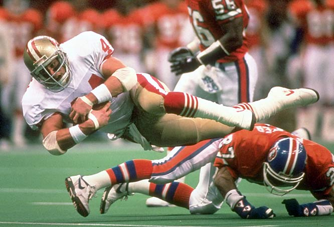 After leading all running backs in receiving with 73 catches for 616 yards, fullback Tom Rathman continued to perform in the playoffs, with two touchdowns in Super Bowl XXIV.