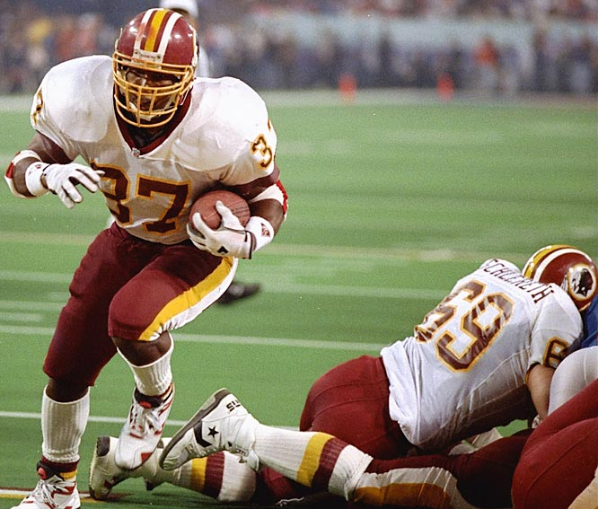 In his 10th and final NFL season, Gerald Riggs scored two touchdowns in each of Washington's three playoff victories, including scoring plunges of one and two yards in the 37-24 victory over the Bills in the Metrodome.