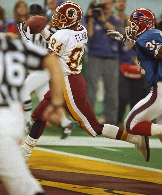Gary Clark finished with a game-high 114 receiving yards in Super Bowl XXVI and his 30-yard scoring reception against the Bills proved to be the winning touchdown.