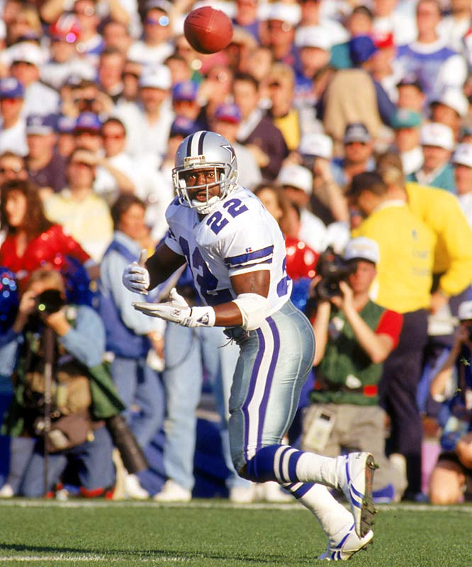 Running back Emmitt Smith powered the NFL's second-ranked offense with 1,713 rushing yards and 19 touchdowns -- both league bests. In the Super Bowl, Smith rolled for 108 yards against Buffalo as the latest Dallas dynasty won the first of its three championships of the 1990s.