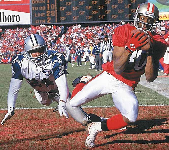Jerry Rice tied his own record for touchdown receptions in a Super Bowl by catching three, including a 44-yarder on the 49ers opening drive. He finished the day with 149 receiving yards on 10 receptions.