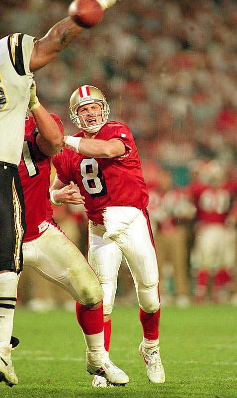 Steve Young clearly stepped out of Joe Montana's shadow by throwing a  record six touchdown passes in San Francisco's 49-26 victory over San Diego. Young joined Montana, Terry Bradshaw, Emmitt Smith and Bart Starr as the only players to win the league MVP award and Super Bowl MVP in the same season.