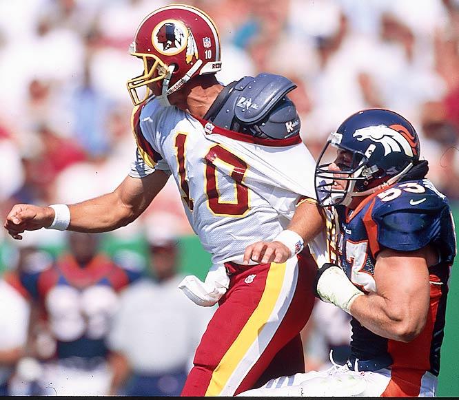 Longtime Broncos defensive lineman Trevor Pryce had 30 tackles and 8.5 sacks in the Broncos' title-winning '98 season.