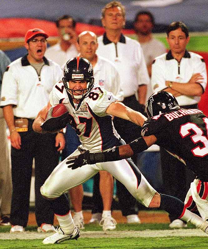 Wide receiver Ed McCaffrey had five receptions for 72 yards in the Broncos' Super Bowl victory over Atlanta. He and receiver Rod Smith gave defenses headaches all season long, not only with their receptions but also by blocking for the Broncos' running game.