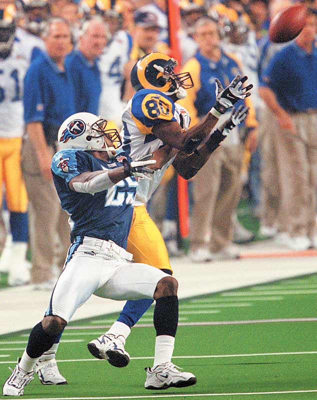 The Rams were loaded at receiver with Isaac Bruce, Torry Holt and Az-Zahir Hakim. Bruce (80) scored the game-winner in Super Bowl XXXIV with a 73-yard touchdown.