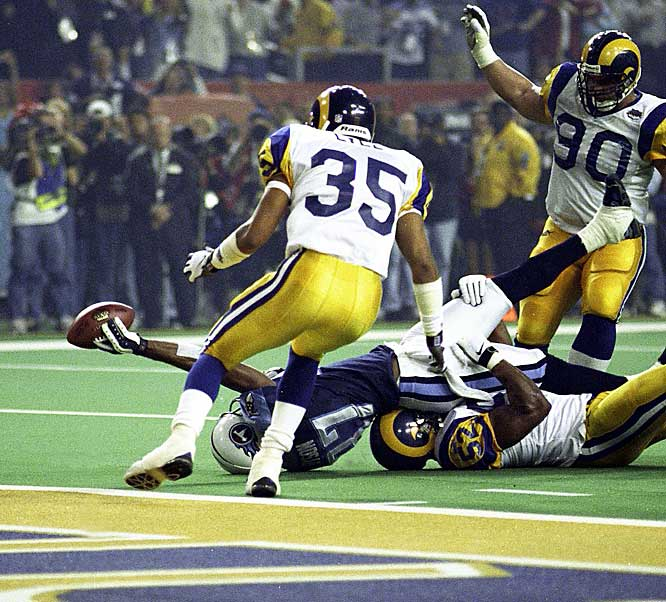 On the final play of the game and one that might have enabled Tennessee to tie the score, Rams linebacker Mike Jones tackled Kevin Dyson a yard short of the end zone to preserve a 23-16 victory.