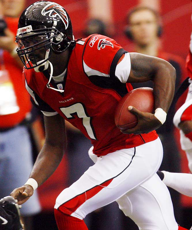100 ... The Falcons became the first team in NFL history to have a quarterback and a running back both rush for 100 or more yards in a game twice in a season -- and they did it with two different running backs. Michael Vick (127) and Warrick Dunn (134) both surpassed 100 yards against the Buccaneers two weeks ago, and Vick (101) and Jerious Norwood (106) both did it Sunday against the Cards.