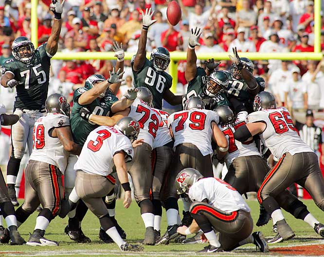 62 ... Matt Bryant's 62-yard field goal, which gave the Buccaneers a 23-21 win over the Eagles, was the second-longest game-winning field goal in NFL history and the longest in 36 years. The only longer game-winner was Tom Dempsey's NFL-record 63-yarder that gave the Saints a 19-17 win over the Lions on Nov. 8, 1970, at Tulane Stadium in New Orleans. Jason Elam's 63-yarder on Oct. 25, 1998, at Mile High Stadium in Denver, came at the end of the first half and gave the Broncos a 27-10 lead on the way to a 37-24 win.