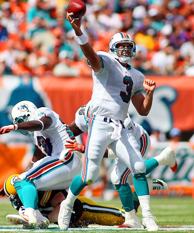 414 ... Joey Harrington's 414 yards against the Packers are the most by a quarterback completing 53 percent or less of his passes since 2000, when Vinny Testaverde of the Jets threw for 481 yards despite completing only 52 percent of his passes in a game against the Ravens. Harrington completed 33 of 62 passes (53 percent).