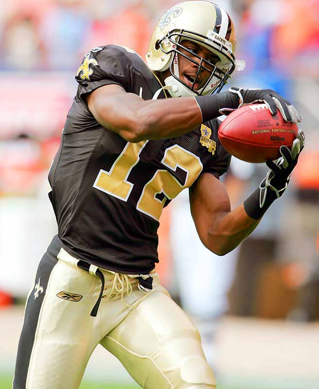 Last week: No. 3 <br><br>Colston ranks sixth in the NFL with 336 yards receiving, and his three touchdown catches are tied with many for first. People are waiting for the seventh-round pick out of Hofstra to slow down, but he just keeps getting better. Colston had five catches for 132 yards, including an 86-yard touchdown, in a loss to Carolina.