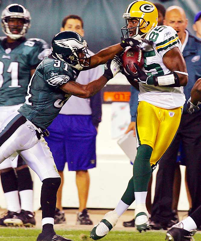 Last week: No. 4 <br><br>Jennings has become a go-to guy for Brett Favre. Last week the rookie had five catches for 86 yards and missed out on a potential long touchdown when an Eagles defender grabbed his jersey, drawing a pass-interference penalty that gave the Packers the ball at the one.