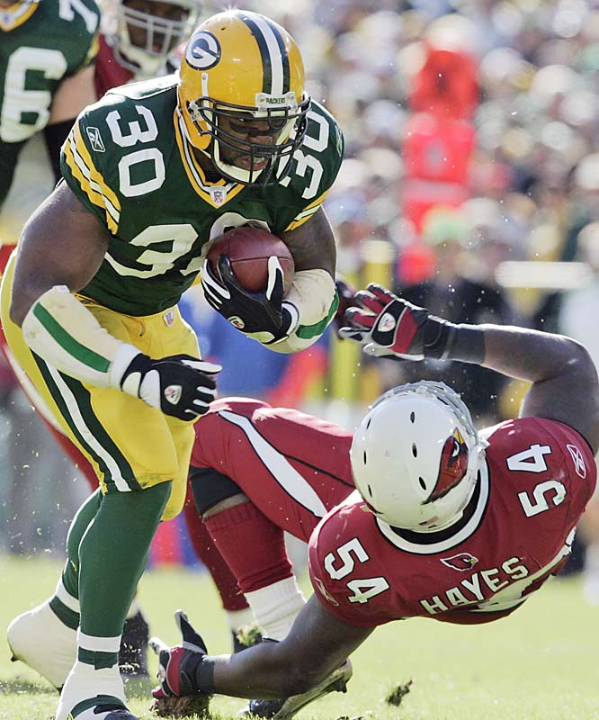 Ahman Green rushed for 106 yards and two touchdowns as the Packers' ground attack overwhelmed Arizona at Lambeau Field.