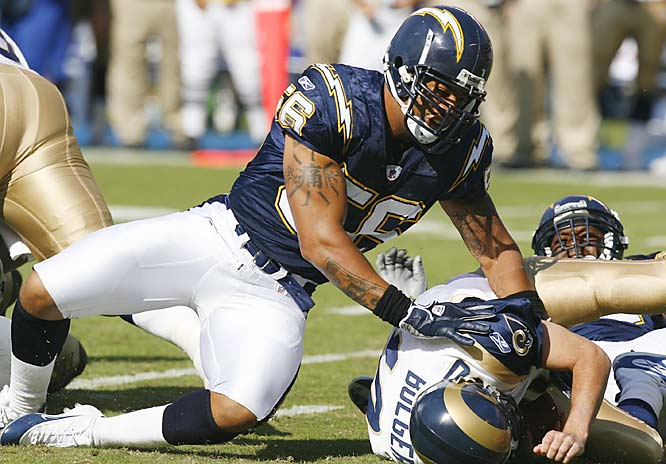 Linebacker Shawne Merriman, who is facing a four-game suspension for testing positive for a steroid, had all three sacks on St. Louis quarterback Marc Bulger.