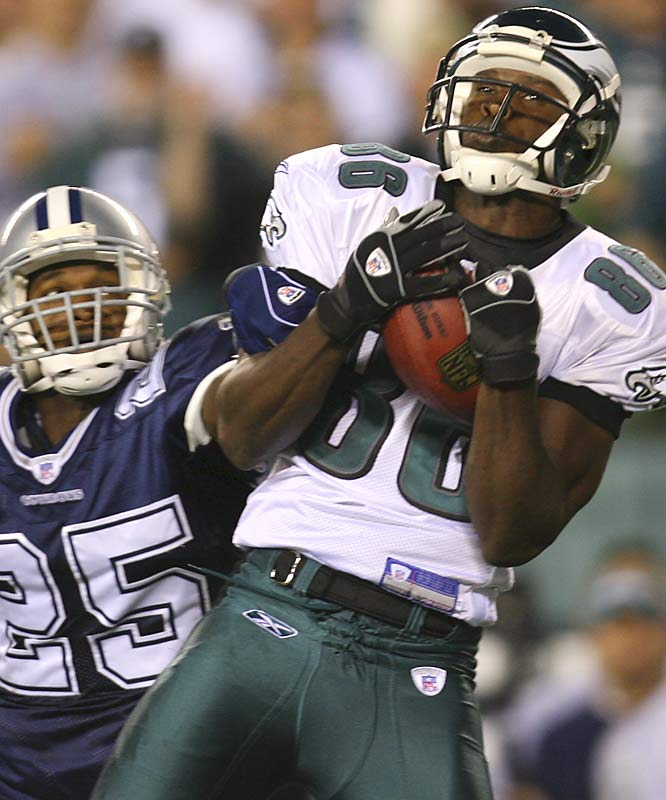 Eagles receiver Reggie Brown had four catches for 79 yards, including a 40-yard touchdown catch in the fourth quarter.