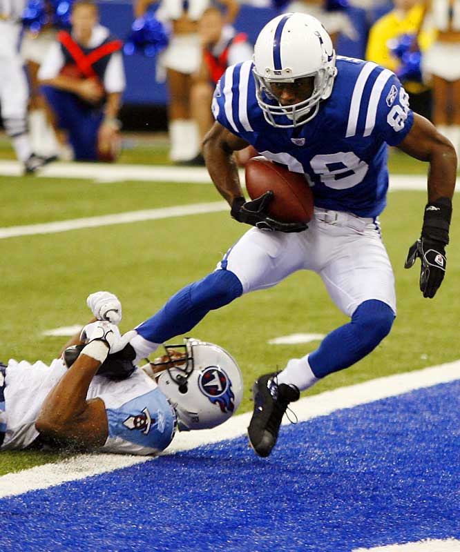Marvin Harrison scored his first touchdown of the season and the Colts' first touchdown of the game against the Titans, on a 13-yard pass from Peyton Manning in the third quarter of a come-from-behind victory.
