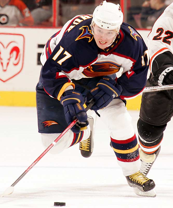 Only the most masochistic defenders relish trying to contain the Thrasher flash one-on-one when he's at full speed. The first overall pick of 2001 is an elite sniper with superb instincts and a wicked shot who hit career highs and set team records with 52 goals and 98 points last season.