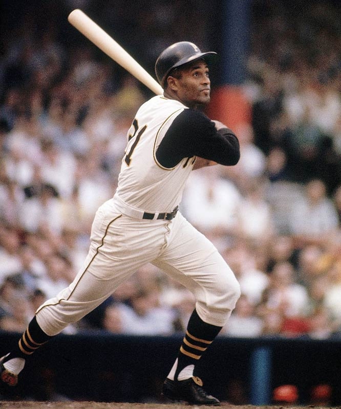 Former Pittsburgh Pirates outfielder Roberto Clemente died when his place en route to Nicaragua to aid earthquake victims went down.