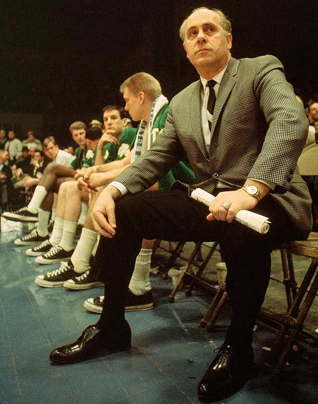 Auerbach watches from the bench during a 1966 game against the Cincinnati Royals.
