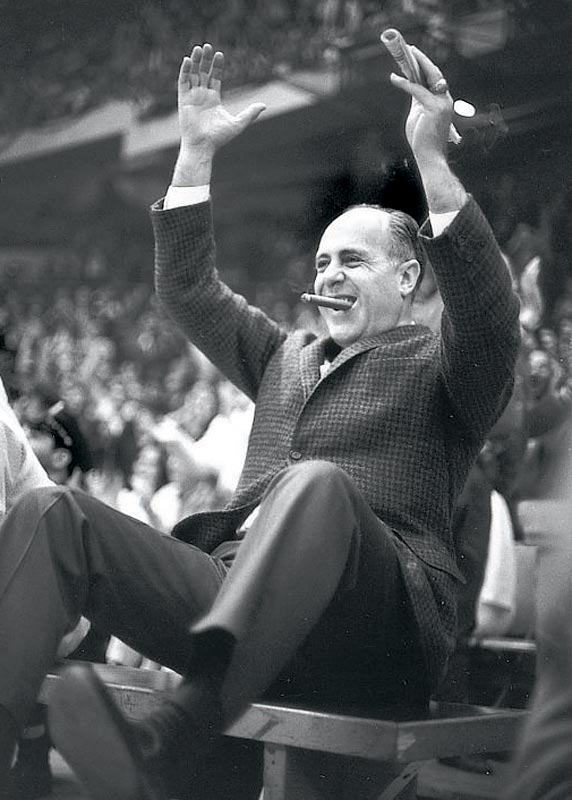 Auerbach during a 1965 game against the L.A. Lakers.