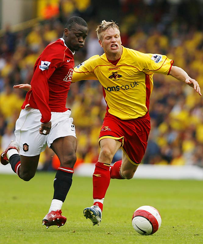 "As a defender in the Premiership, DeMerit must mark some of the best forwards in the game, including Arsenal's Thierry Henry, Chelsea's Andriy Shevchenko and Man Utd's Wayne Rooney and Louis Saha (pictured at left). ""I like the challenge of going up against some of the best players in the world each week,"" he says. ""If I can hold my own, it's only going to make me better."""