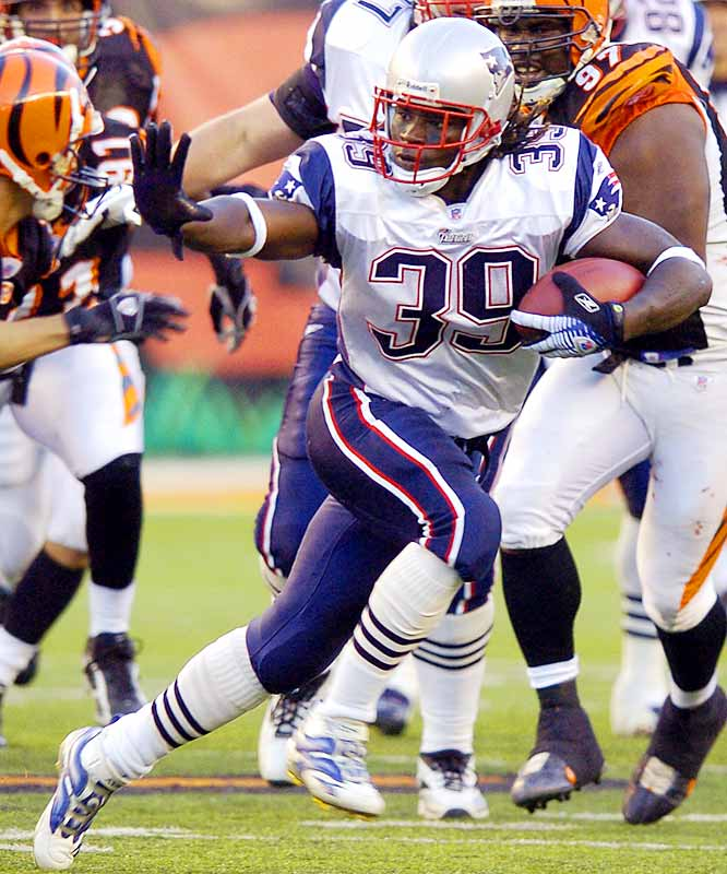 Patriots running back Laurence Maroney ran for 125 yards and two touchdowns on 15 carries against the Bengals.