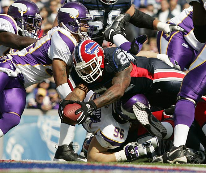 Buffalo running back Willis McGahee dives past the Vikings defense for his second-quarter touchdown.