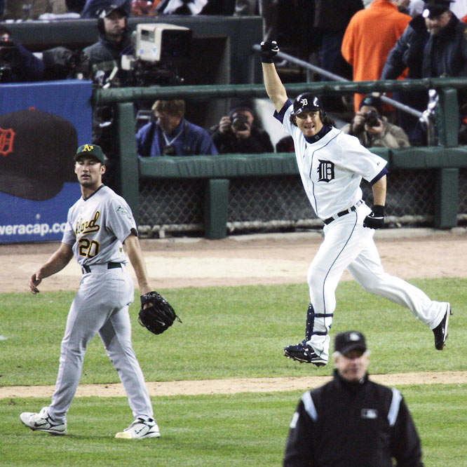 After tying the game in the sixth inning with a solo homer, Magglio Ordonez cranked a three-run job off Oakland closer Huston Street, sending the Tigers to their first World Series in 22 years.
