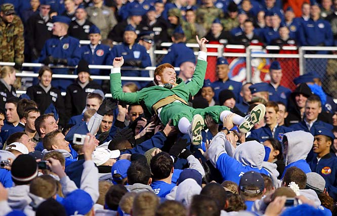 The Notre Dame Fighting Irish leprechaun was passed through the crowd by Air Force cadets during the Fighting Irish's 39-17 victory over the Falcons.